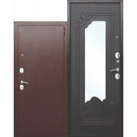 Входная металлическая дверь с зеркалом Ампир Венге/Белый ясень