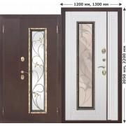 Входная металлическая нестандартная дверь со стеклопакетом Венеция  Венге/Белый ясень