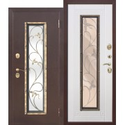 Входная металлическая дверь со стеклопакетом Плющ Венге/Белый ясень