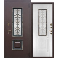 Входная металлическая дверь со стеклопакетом Венеция Венге/Белый ясень
